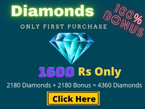 Top Up 2180 Diamonds + 2180 Bonus = 4360 💎