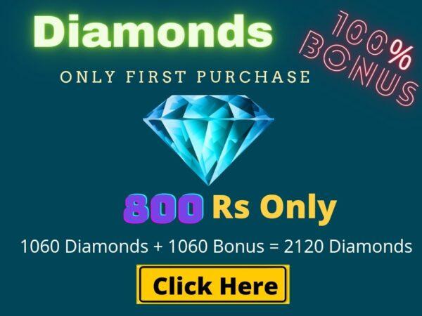 Top Up 1060 Diamonds + 1060 Bonus = 2120 💎
